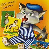 Vintage Mid Century Get Well Greeting Card Artist Cat Striped Overalls Painting