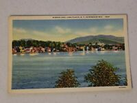 Adirondack Mountains New York Lake Placid Mirror Lake Linen Vintage Postcard 555