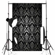 Retro Black Damask Wall Backdrop Studio Photography Vinyl Background Prop 3x5FT
