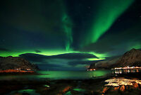 Impresión en Marco - El Aurora Boreal Polar (Aurora Islandia Noruega Polo Fotos