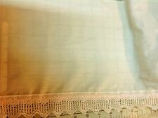 Vintage Pale Yellow Fabric Beige Lace Pink Ribbon 10 inches wide 1 yard 17 in