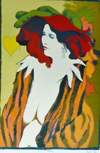 """Prof. FRANK GALLO """"Le Chapeau Rouge"""" HAND SIGNED LITHOGRAPH US artist"""