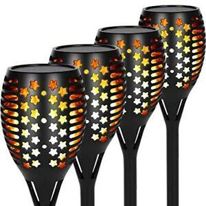 Opard Solar Lights Outdoor Garden, 4 Pack 96 LED IP65 Waterproof Torch Light