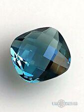 Topaz London Blue #M46. Briolette 10x10mm. 3,9 Ct. Monosital created gemstone
