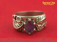 Sterling Silver Oval Shape Amethyst Leaves/Flowers Design Women's Ring Size 6