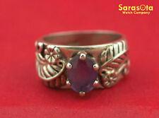 Sterling Silver Oval Shape Amethyst Leaves/Flowers Design Women's Ring Size 6