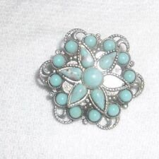 Vintage Layered Dome Snowflake Pin Brooch w Faux Turquoise Stones Filigree!