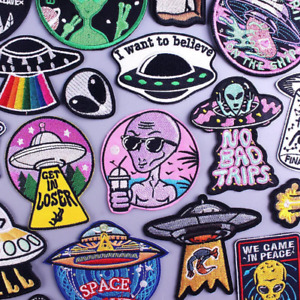 Space Alien UFO Embroidered Biker Patches Sew on / Iron on Badges Applique Retro