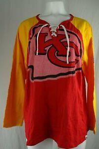Kansa City Chiefs NFL Majestic Women's Plus Size Lace-up T-Shirt