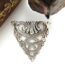 ANTIQUE SILVER CREST Irish Celtic Scroll Stamping ~ Crest Findings (CB-3061)