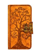 ALBERO della vita DECORAZIONE IPHONE 6 Case Marrone Fatto A Mano Vintage Vera Pelle Wallet