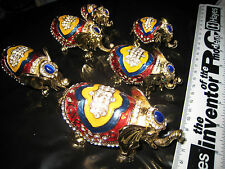 RARE LOT COLLECTION OF 6 ENAMELLED CRYSTAL ELEPHANT HINGED TRINKET PILL BOXESi20