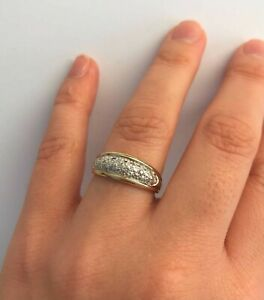 Ivy Gems 9ct Yellow and White Gold 0.11ct Pave Set Diamond Band Ring Size O