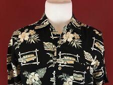 Knightsbridge Black Rayon Hawaiian Aloha Shirt Mens Medium Cars Palm Trees