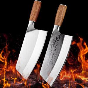 Chinesisches Küchenmesser Kochmesser Edelstahl Damaszener Muster Fleischbeil DE