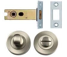 Satin Chrome Bathroom Thumb Turn Release +64mm Deadbolt Lock Toilet Door Set