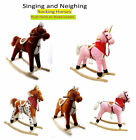 PLUSH KIDS ROCKING HORSE MOVES SINGS WITH SADDLE & WOODEN STAND ROCKERS 75cm
