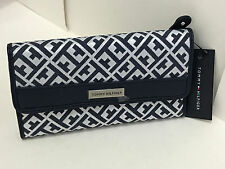 NEW ARRIVAL! TOMMY HILFIGER BLUE OFF-WHITE CHECKBOOK CLUTCH PURSE WALLET $39