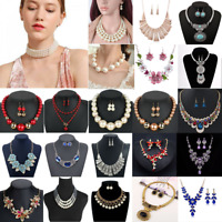 Charm Women Crystal Pearl Tassel Necklace Bib Choker Chain Statement Pendant