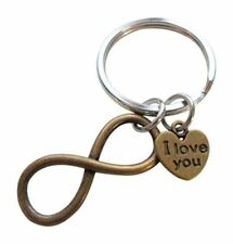 I Love You Heart with Bronze Infinity Symbol Keychain- You & Me for Infinity