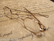 Antique Style, Small Reading Eyeglasses +100 w Sliding Bow Gold Brass Rev War
