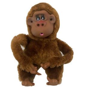Russ Berrie Monkey Plush Vintage Thumb And Toe Sucker Plastic Face Eye Lashes