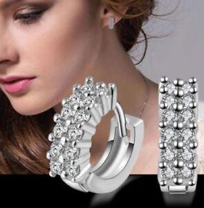 925 Round Womens Silver Huggie Earrings Sterling Filled Jewellery Hoops Sleeper