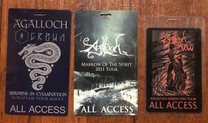 AGALLOCH Tour AA laminated passes (3) Ulver, Opeth, Katatonia, Pillorian, Uada