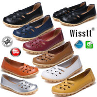 Womens Ladies Slip On Leather Comfy Work Summer Casual Loafers Oxford Flat Shoes
