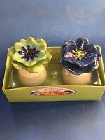 Grasslands Road Petals Salt And Pepper Shakers Set Blue/Green Ceramic