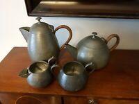 Vintage Four Piece Arts & Crafts Style Craftsman Pewter Tea Service