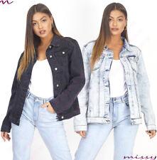 Denim Jacket Ladies Jean Parka Blue Size 8-24 PLUS SIZE BOYFRIEND FIT ACID WASH