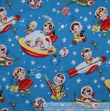 BonEful Fabric FQ Cotton Quilt Blue White Red America*n Baby Space Ship Star Sky