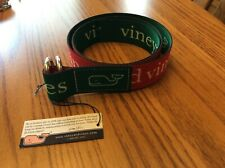 VINEYARD VINES Canvas Logo red green  Men's D-Ring BELT Size Small