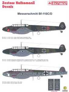 Techmod Decals 1/32 MESSERSCHMITT Bf-110D w/Mask