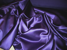 """PURPLE 100% POLYESTER BRIDAL LAMOUR SATIN FABRIC 58"""" WIDE BY THE YARD"""