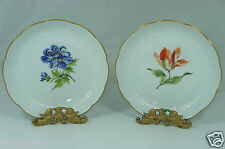 VINTAGE PORCELAIN PLATE/SHALLOW BOWL,PINK,BLUE FLOWERS,EMBOSSED,GOLD RIMS,PAIR