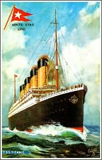1912 Titanic Ocean Liner Whtie Star Line Art Travel Advertisement Poster Print