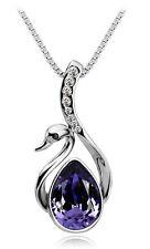 elegant versilbert Amethyst violett Swan Kristall Anhänger Halsketten Ketten