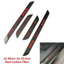 2x 49cm+2x 25.5cm Real Carbon Fiber Car Door Plates Welcome Sill Protector Cover