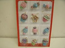 "12 Miniature Sugared Cupcake Candy Ornaments for Feather Tree 1 1/8"" tall"