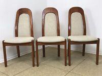3x 70er Jahre Teak Stühle Stuhl Dining Chair Danish Design Denmark Mid Century