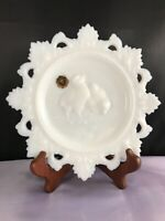 "VINTAGE WESTMORELAND MILK GLASS LACE EDGE CHICK 7 5"" PLATE"