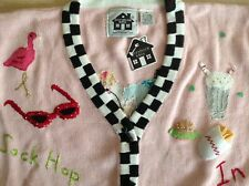 NEW STORYBOOK KNITS SWEATER Knit Cardigan button size 1x sock hop pink lady
