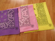 LOT of 3 Vintage Antique PURPLE PINK YELLOW Cotton Biker BANDANA Handkerchief