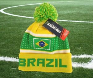 New Icon Sports Brazil Brasil Beanie Cap Hat Yellow Green w Tag One Size