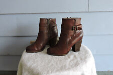 Women's Short Frye Patty Ankle Boots Brown Leather Heel Size 7.5