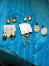 Joan Rivers Faux Topaz & Crystal Pierced Earrings & Two Pair Stone & Faux MOP