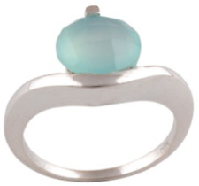 925 Sterling Silver 4.3 grams w/ Chalcedony Blue Cabochon Solitaire Ring Sz 7.5
