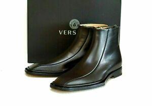 New Versace Men's Black Tribute Side-zip Ankle Boots Size 43 EU/10 US $1795.00
